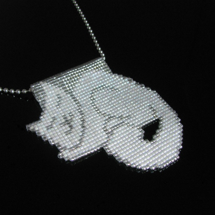 Bead loomed cat pendant Petcat - A HeatherCat