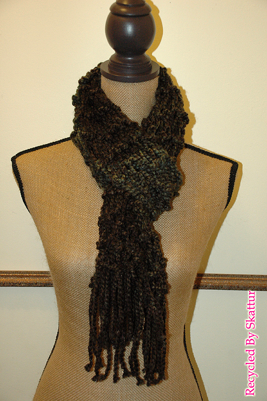 Charcole Black and Camo Green Long Accessory Knit Scarf / Handmade Accessories
