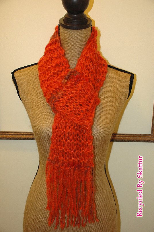 Orange Hand Knit Long Accessory Scarf / Handmade Accessories Scarf Knit