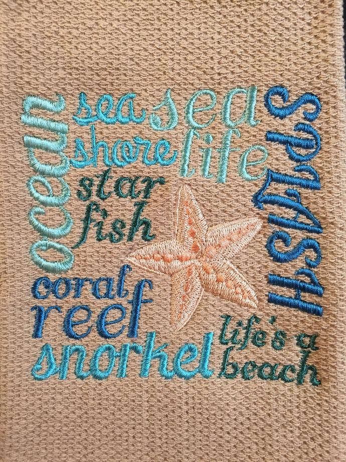 STARFISH & THE BEACH kitchen towel
