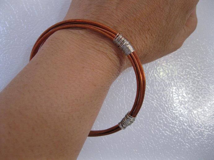 Copper bangle bracelet, wire wrapped copper bracelet, men's copper bracelet,