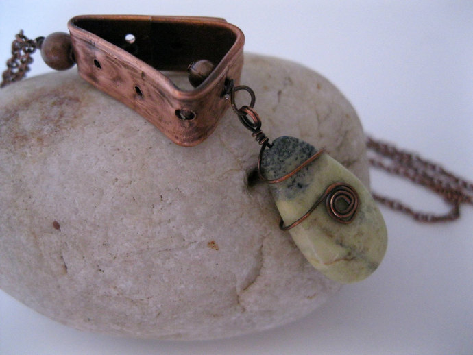 Copper necklace with yellow lime green turquoise bead wire wrapped in copper