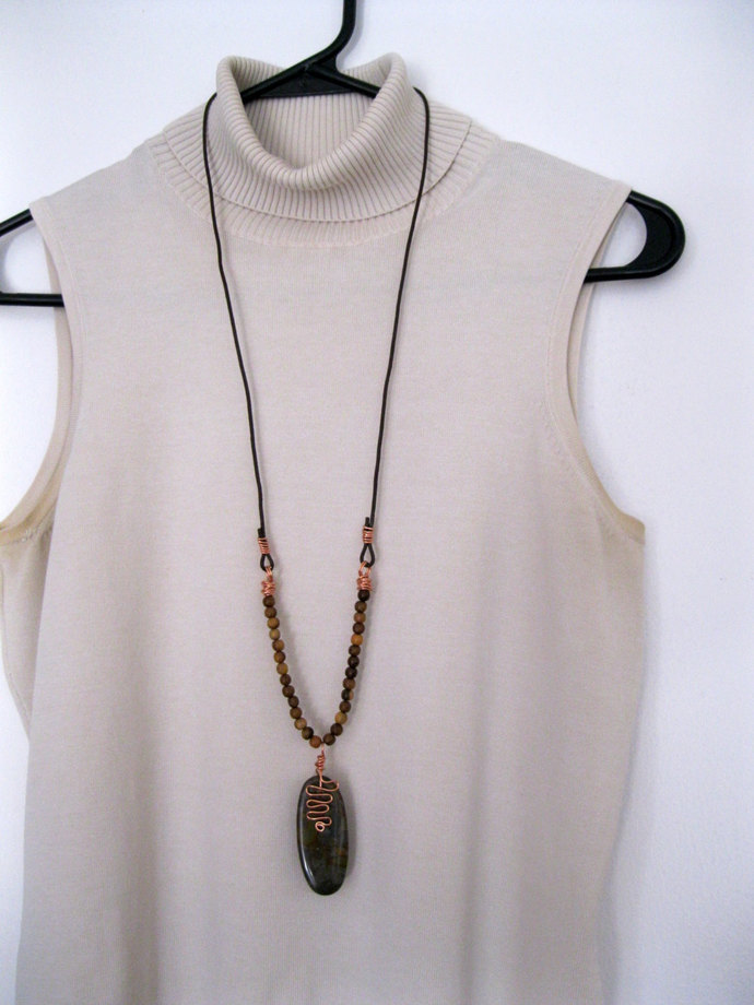 Jasper stone and copper necklace, stone pendant, shiny copper charm and wood