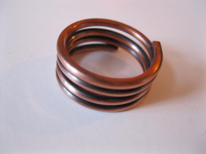 Copper spiral ring, copper ring, metal spiral ring
