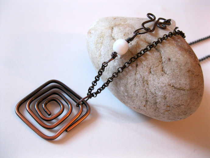 Two tone square spiral copper necklace with white moon stones, copper necklace