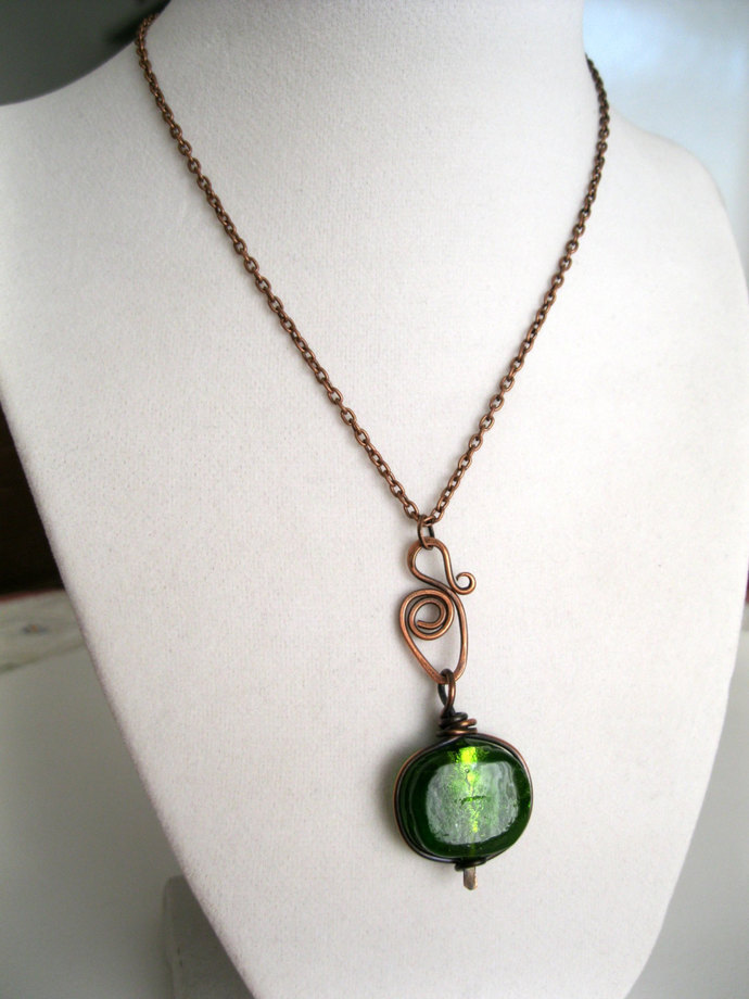 Copper necklace with framed emerald green bead, copper necklace, green bead