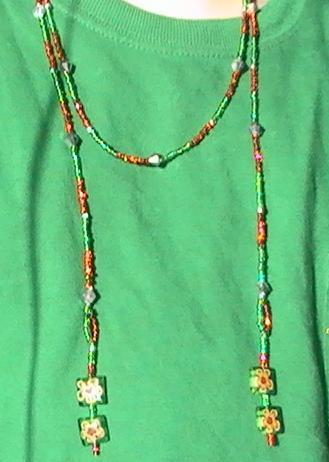 Red and Green Lariat Necklace with Matching Earrings