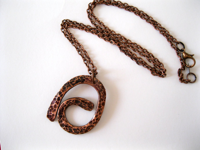 Hammered copper pendant necklace, copper necklace, rustic copper necklace,