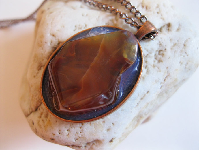 Copper necklace with sliced honey brown agate in copper bezel, agate necklace,