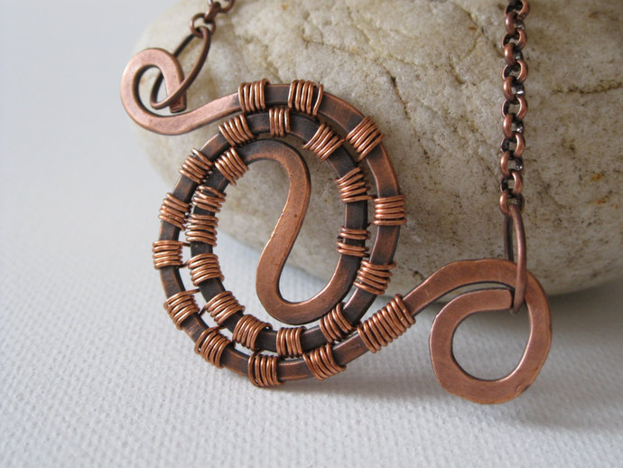 Copper spiral wire-wrapped necklace, copper necklace, statement necklace