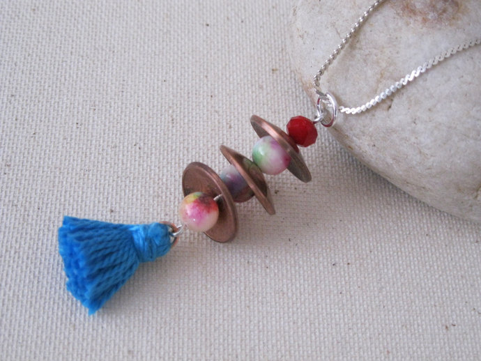 Copper penny necklace with red jade, red crystal, blue tassel and sterling