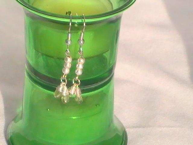 Light Green Wire Wrapped Earrings