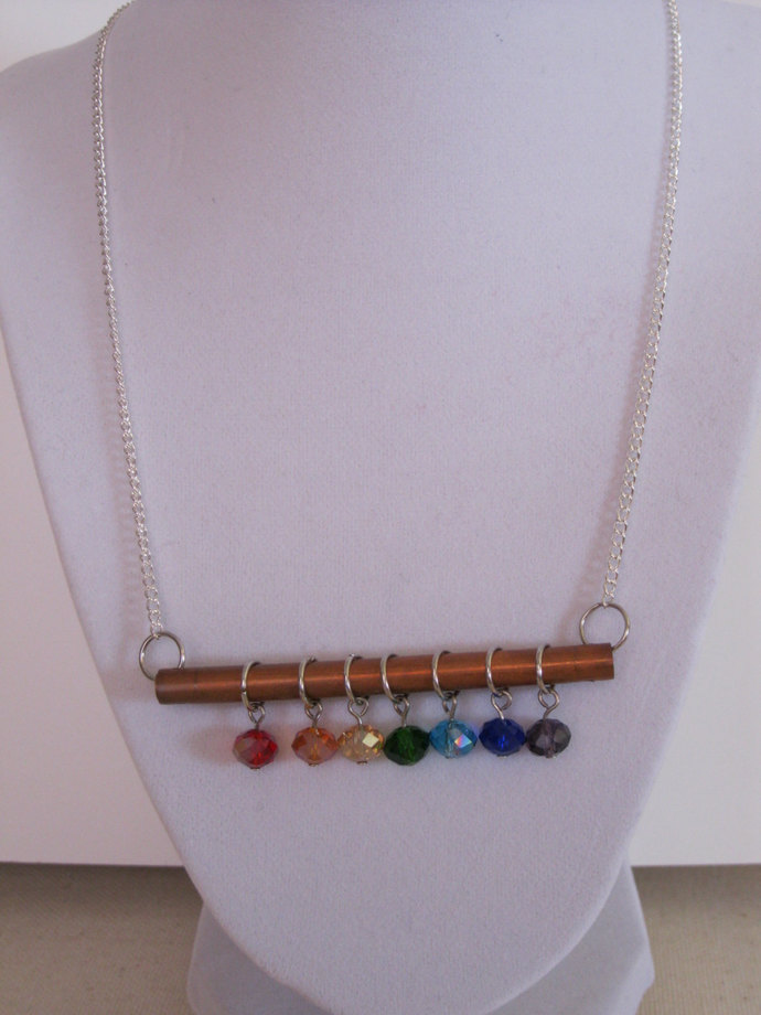Chakra necklace, copper necklace, copper tube and rainbow dangles, rainbow