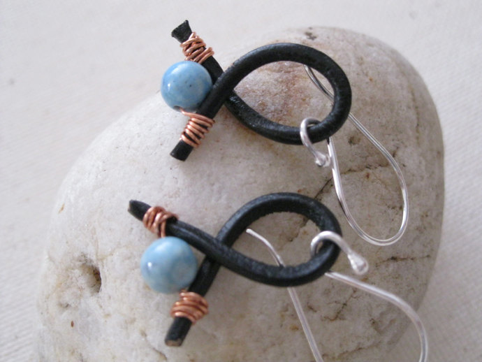 Copper and Leather earrings, copper and seafoam bead earrings, blue bead