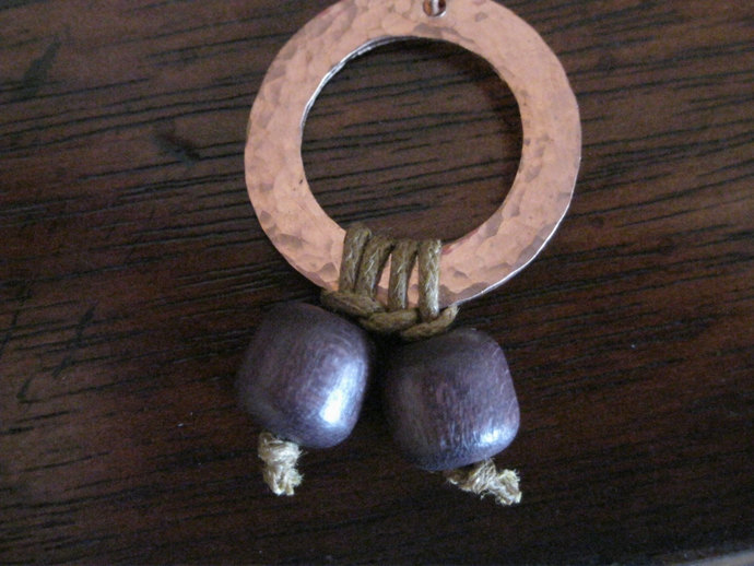 Copper earrings, dangle earrings with copper washers and chocolate brown wood