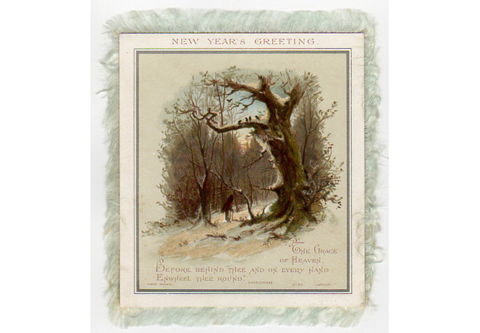 victorian silk fringe border double sided new year card antique holiday