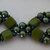 "Green Diamonds - Glass Pearl and Tiles Hand Beadwoven Bracelet - 8.25"""
