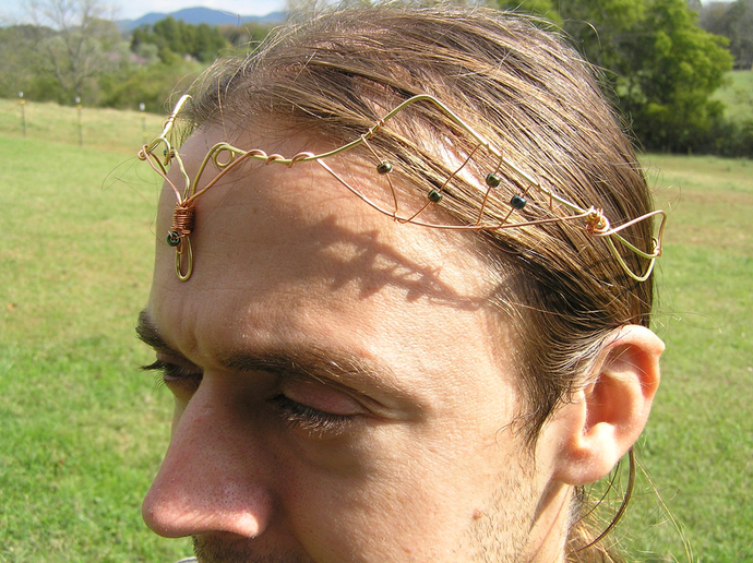 Brass and copper wire elf crown with metallic beads