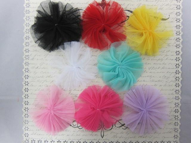 Tulle Rosette Flower Tutus embellishments - 2pcs many colors