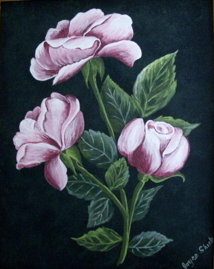 Original Rose Painting, fine art, acrylic, realism, botanical, garden, floral,