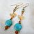 Turquoise & Gold Bird Long Dangly Earrings with Topaz Accent Beads