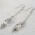 Swarovski Crystal Cube, AB Rhinestone Rondelles & Aquamarine Dangly Earrings