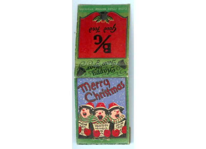 Vintage 1950s Christmas Caroler Matchbook Cover, B G Good Food, Chicago Illinois