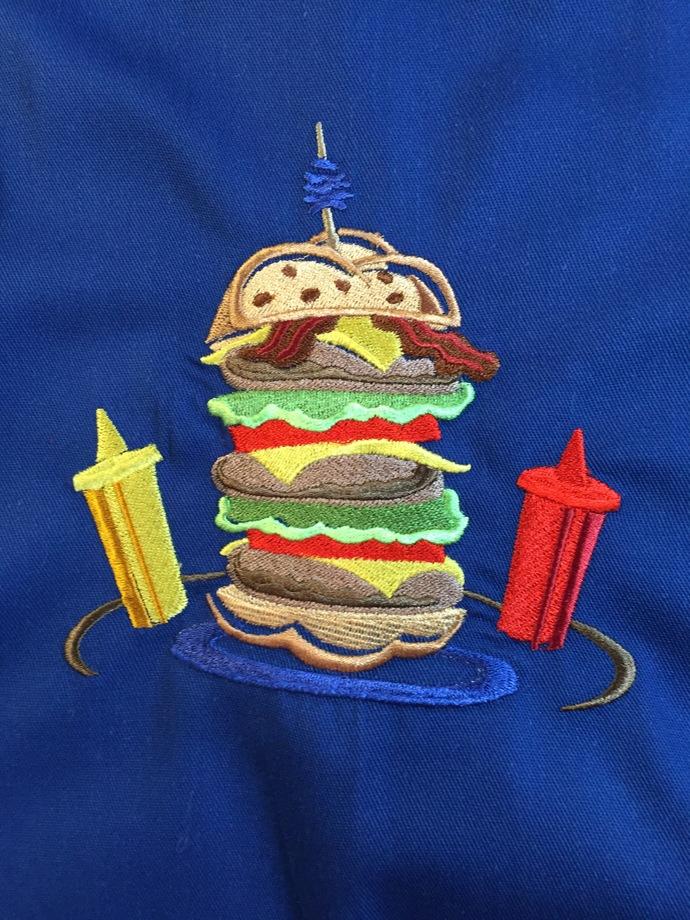 DOUBLE DOUBLE HAMBURGER bibbed apron