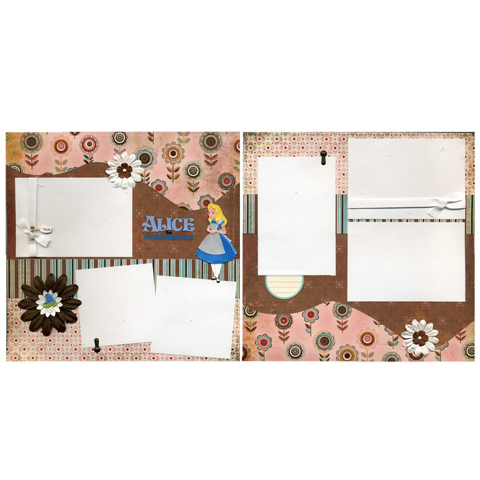 Alice in Wonderland Premade Scrapbook Page Set