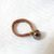 Brown Reflective Glass Ring with Wire-wrapped Delica Bead Band