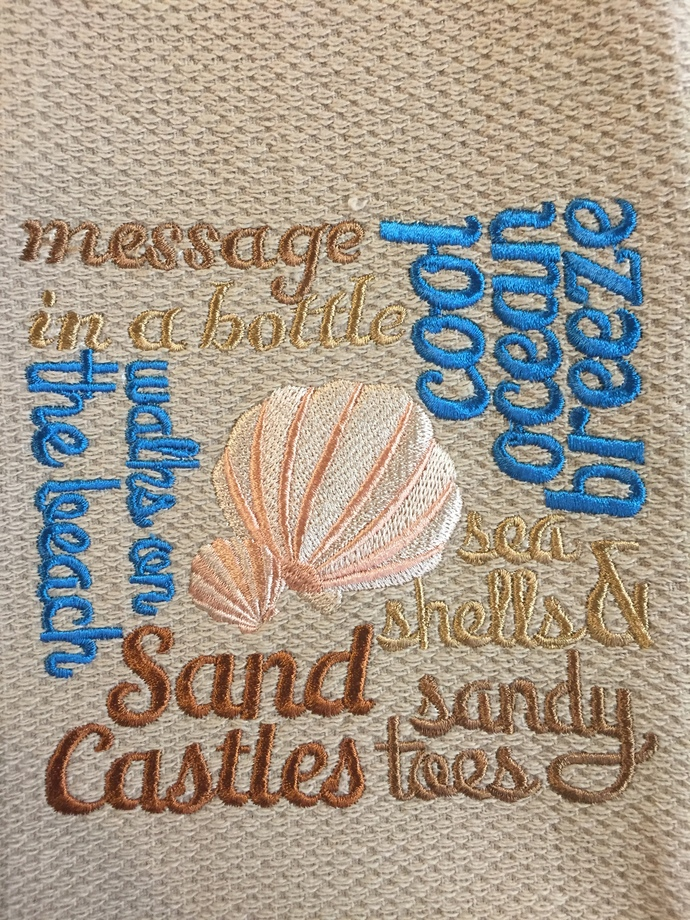 SAND CASTLES and SEA SHELLS kitchen towel