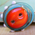 Lampwork Glass Button Handmade Sew Through Orange