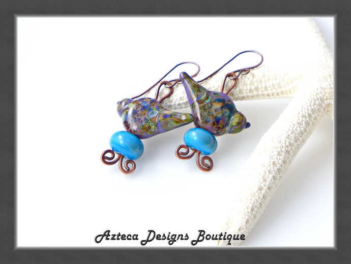Sweet Purple Lampwork Bird Earrings
