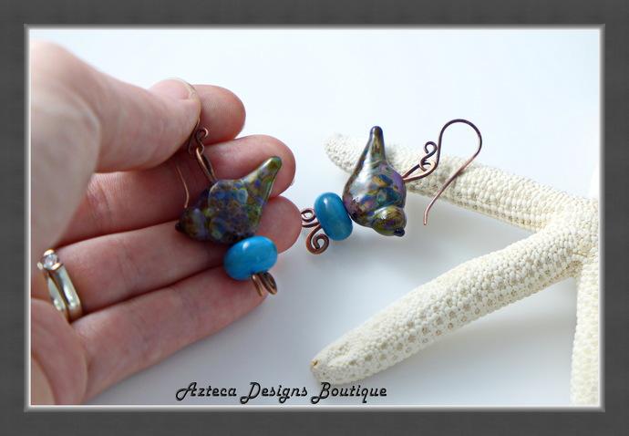 Sweet Purple Lampwork Bird Earrings