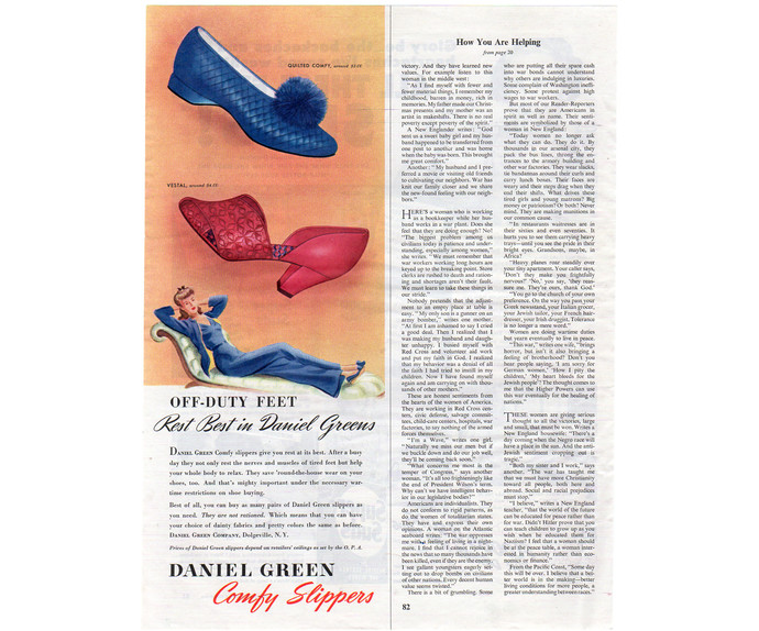 Daniel Greens Vintage Slippers Print Ad, 1943 Womens Shoes Magazine Advertising,