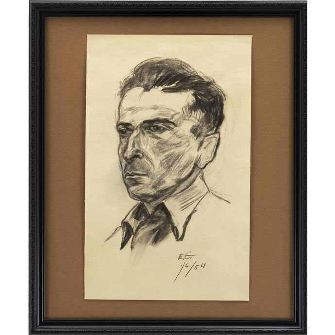 Man With Open Collar; A Framed Portrait in Charcoal on Paper