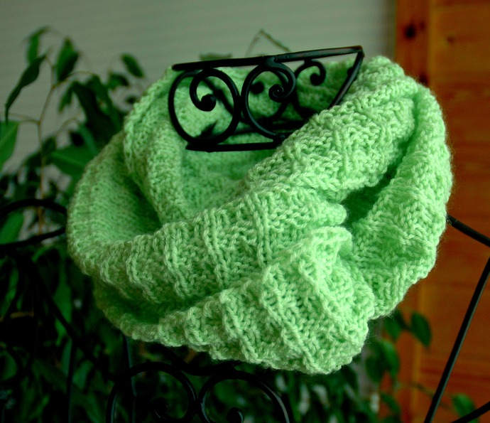 Green Infinity Scarf Hand Knit and Very Soft