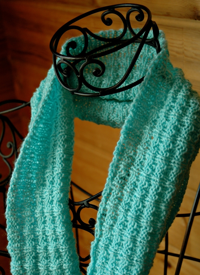 Aqua Infinity Scarf Hand Knit and Very Soft