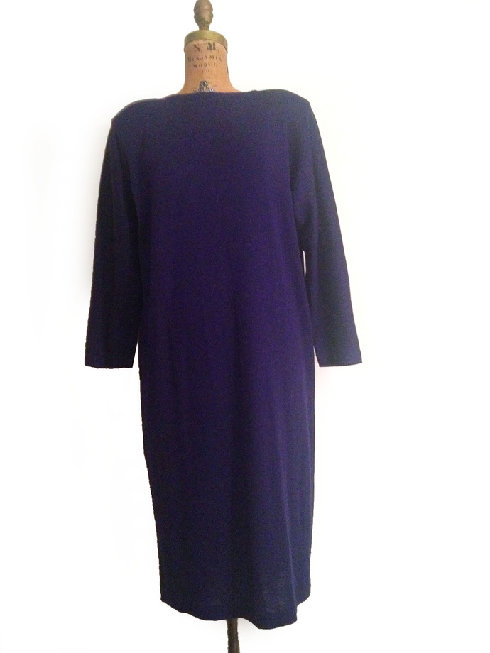 Vtg. 60s Purple Blue Wool Knit Shift Dress w Oversized Top- M