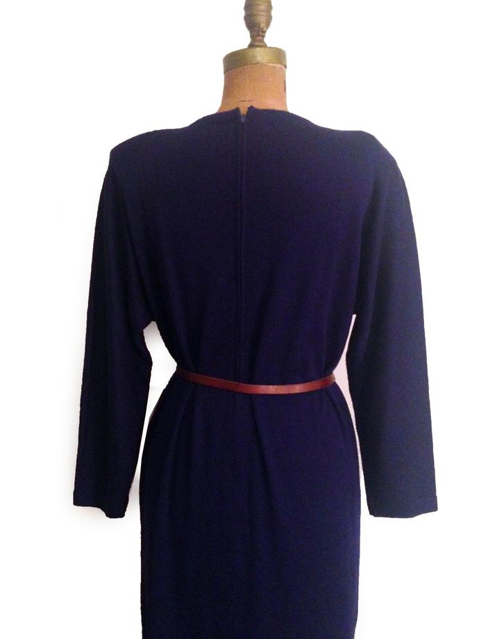 Vtg. 60s Purple Blue Wool Knit Shift Dress w Oversized Top- M