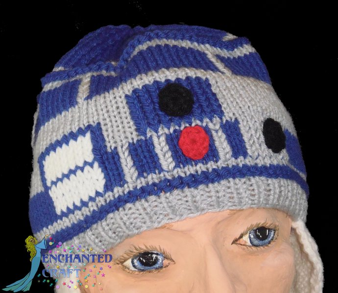 Hand Knitted R2-D2 Hat WITH earflaps for the fan of Star Wars
