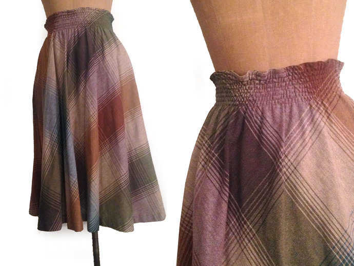 Vtg. Large Diagonal Plaid  Cotton Blend Tweed full Midi Skirt  w Elastic waist