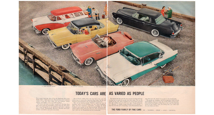 Vintage 1950s Ford Magazine Print Ad, Country Sedan, Lincoln Premiere, Ford