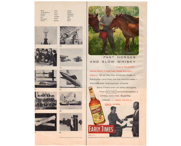 Early Times Whiskey Magazine Print AD, Vintage 1956 Breweriana Advertisement,