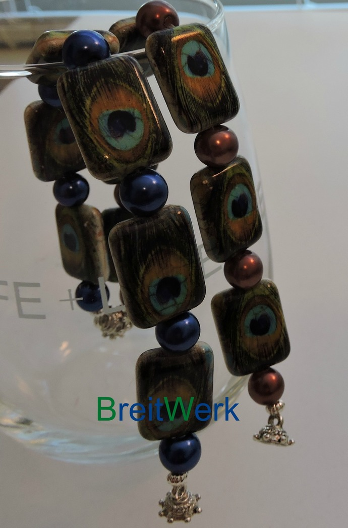 Peacock bead bracelet with bronze glass accent beads