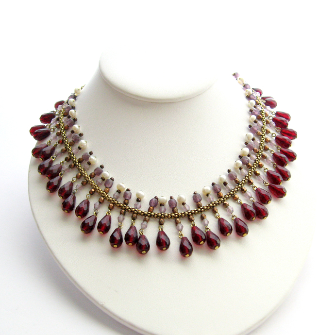 Vintage Victorian Revival Garnet Acrylic Beaded Fringe Collar Bib Necklace Avon