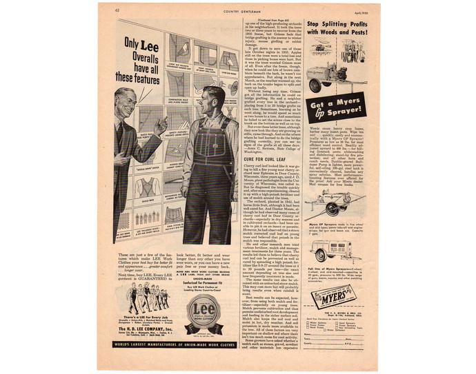 Lee Overalls Magazine Print Ad, Vintage 1950s Mens Fashion Advertising, Man Cave