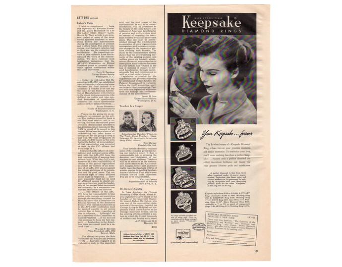 Vintage Keepsake Diamond Rings 1950s Magazine Print Ad, Jewelry Advertising
