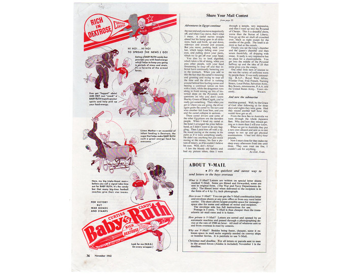 Vintage 1940s Baby Ruth Candy Bar Magazine Ad, Curtiss Print Advertsing, Food