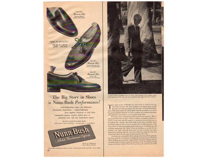 Nunn Bush Men's Shoe Magazine Print Ad, Oxfords, Vintage 1950s Fashion